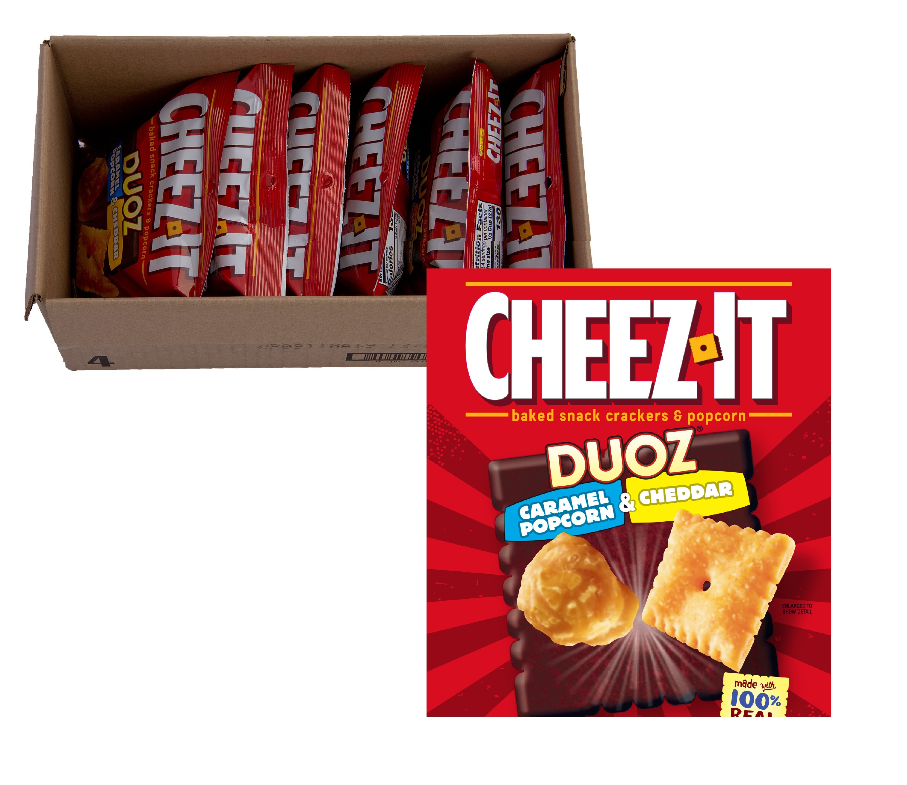 Cheez it duoz caramel popcorn & cheddar 6ct
